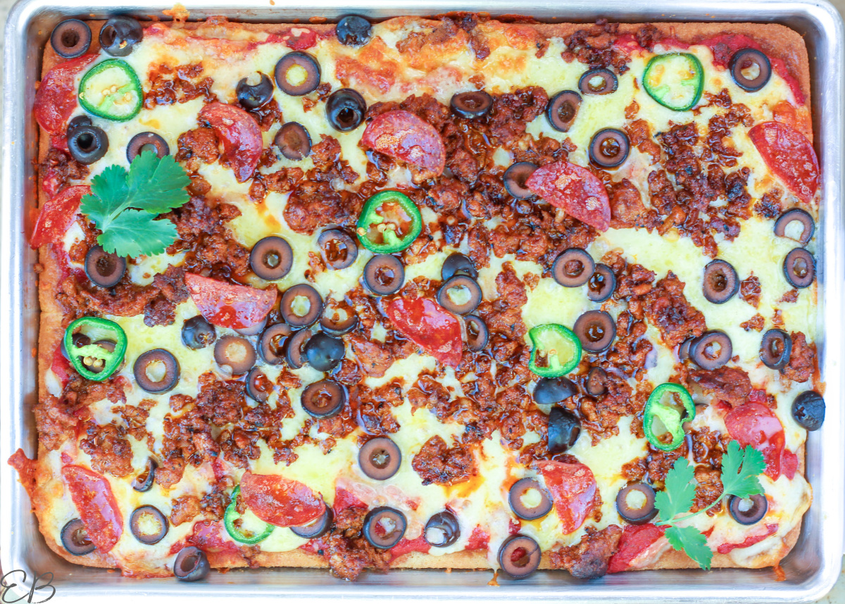 overhead view of whole pizza