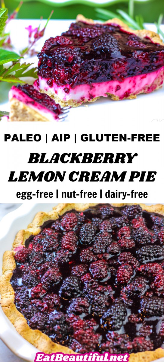 2 IMAGES OF blackberry lemon cream pie with banner and title in the middle