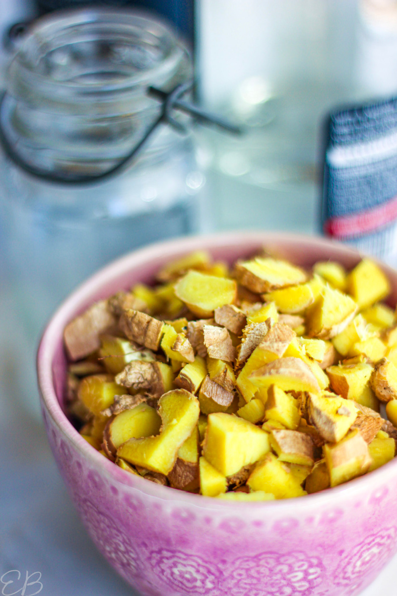 a pink bowl full of freshly cut ginger root