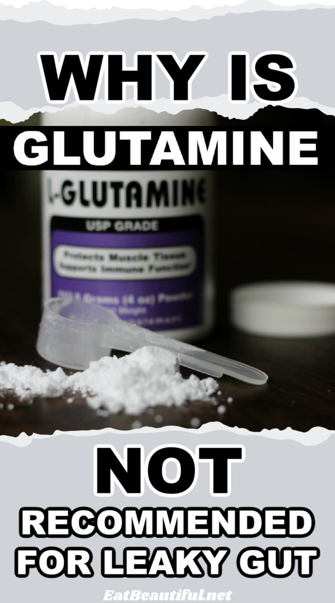 an image of l-glutamine powder with words of the title above and below the photo