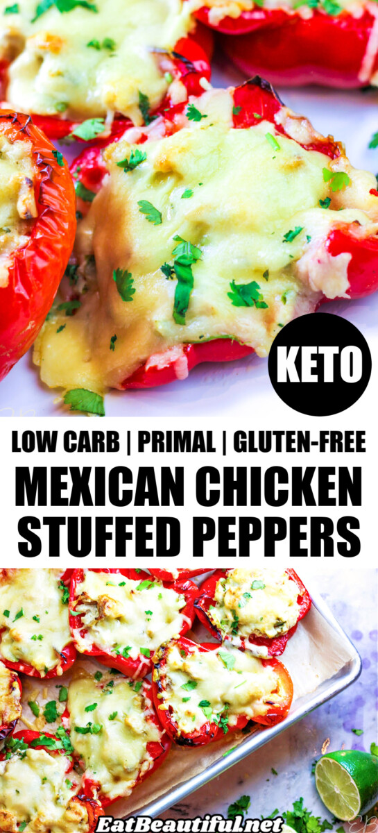 2 photos of Mexican Chicken Stuffed Peppers with banner and title in the middle