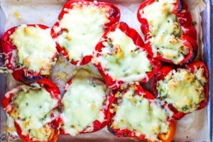 just baked process photo of keto stuffed peppers