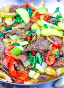 up close photo of paleo beef stir fry in the pan