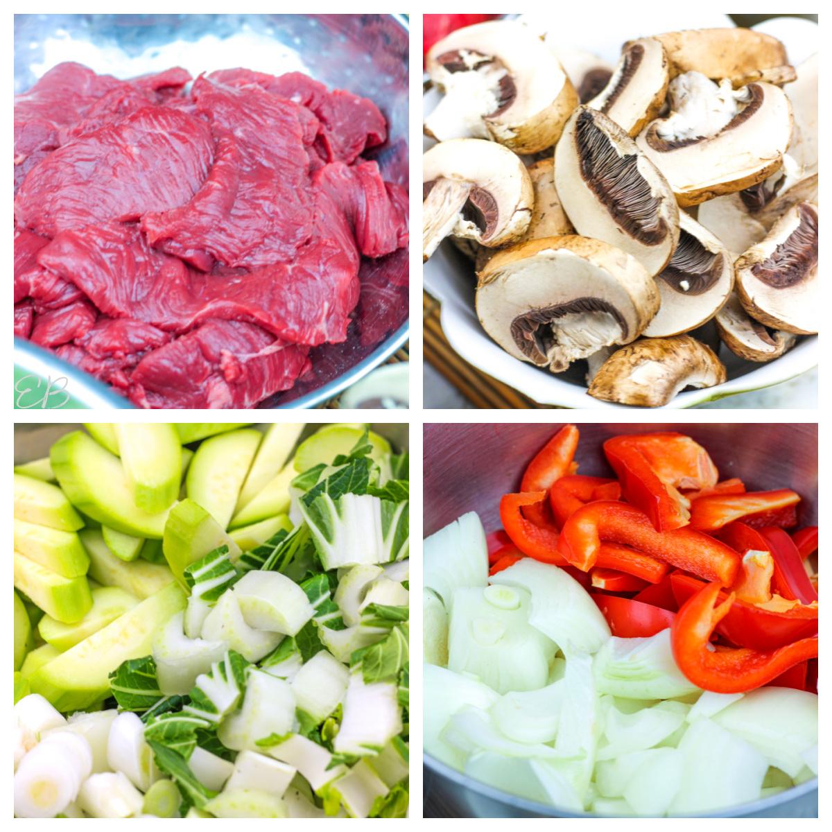 4 images of paleo stir fry ingredients