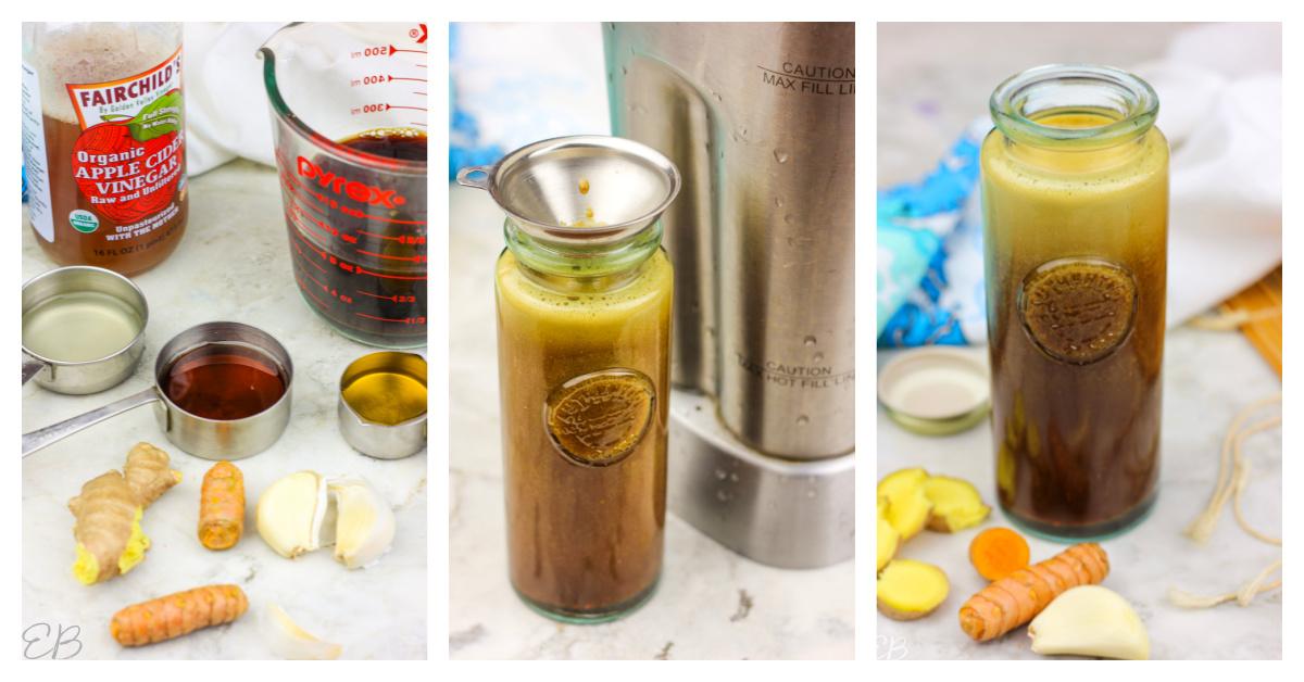 3 images of making teriyaki sauce