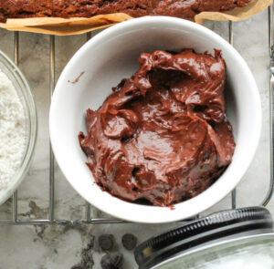 small white bowl of chocolate ganache