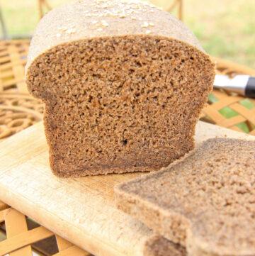 cut open loaf of oat bread
