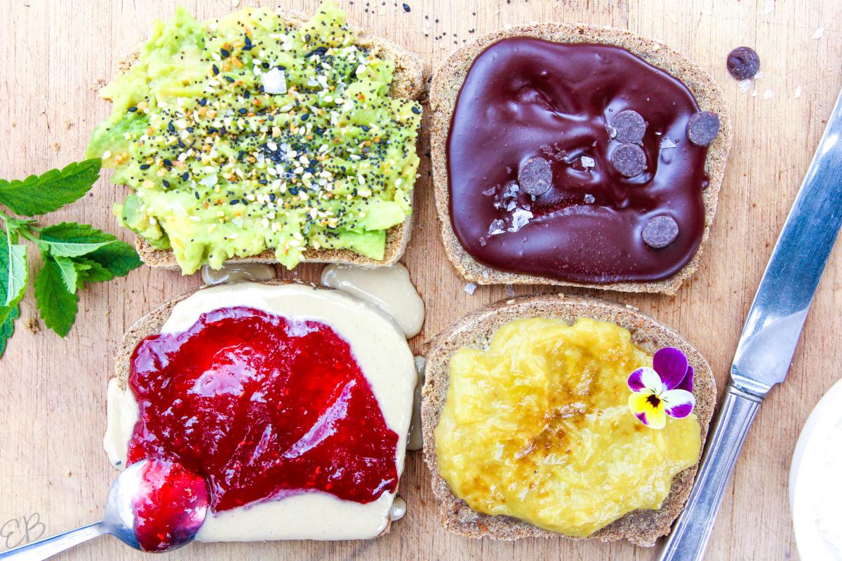 4 topping options shown on gluten free vegan oat bread