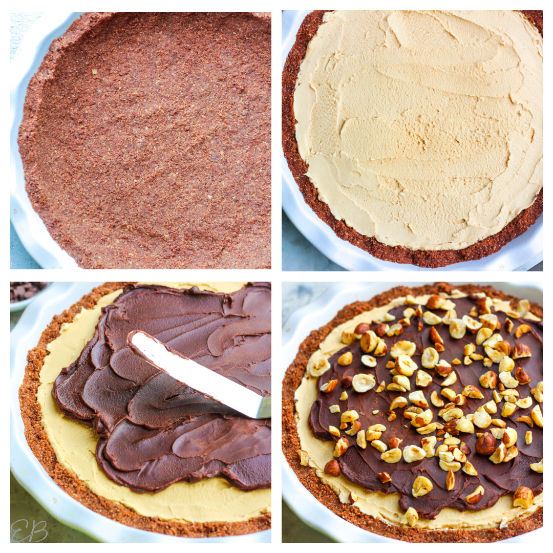 4 step process photos for making mud pie
