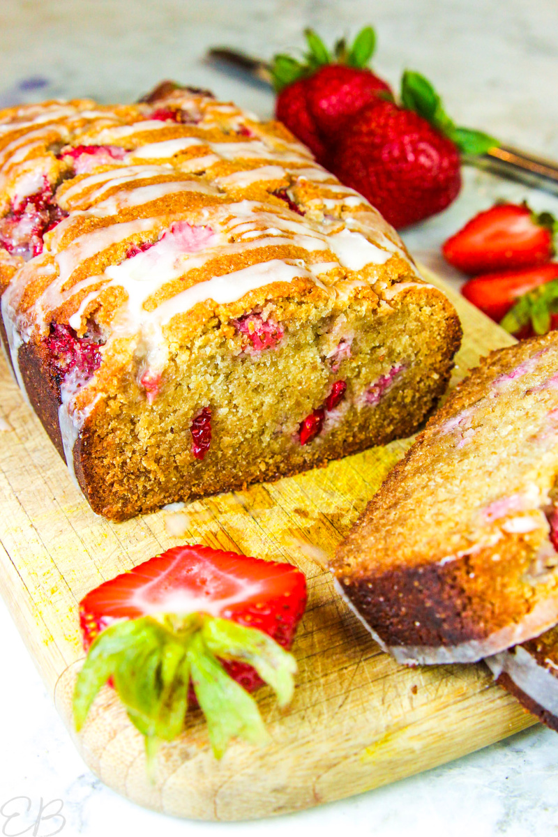 up close view of sliced open keto strawberry bread
