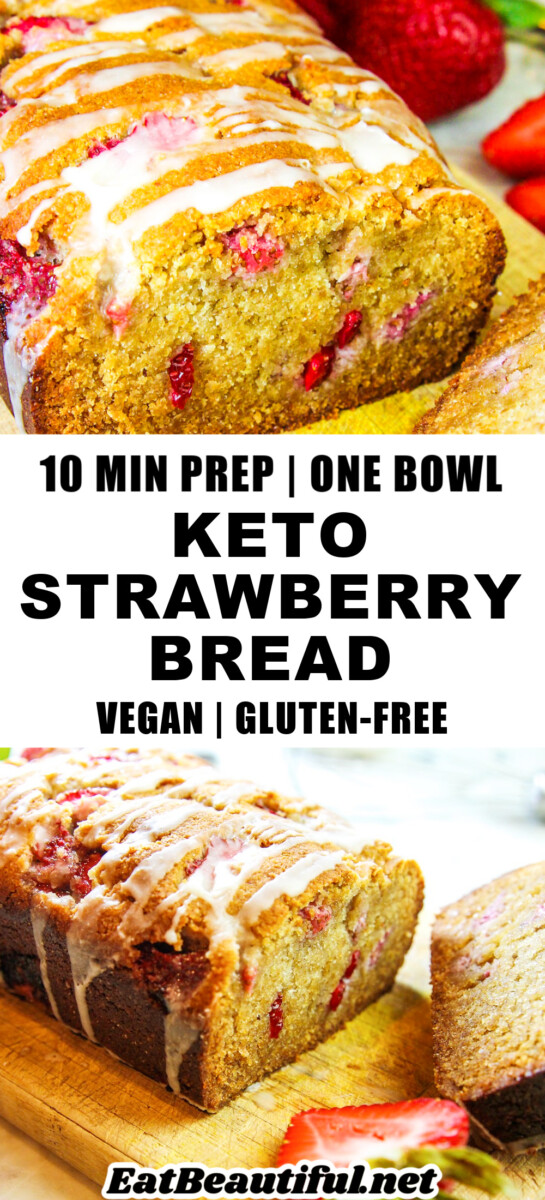 2 PHOTOS OF KETO STRAWBERY BREAD WITH RECIPE TITLE ON BANNER IN THE MIDDLE