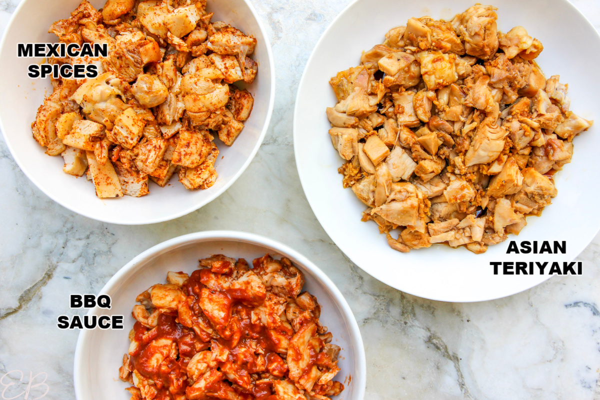 labeled bowls of different recipes with chicken thighs