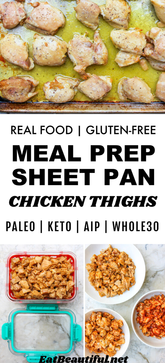 3 images of meal prep sheet pan chicken thighs with banner and recipe title in the middle
