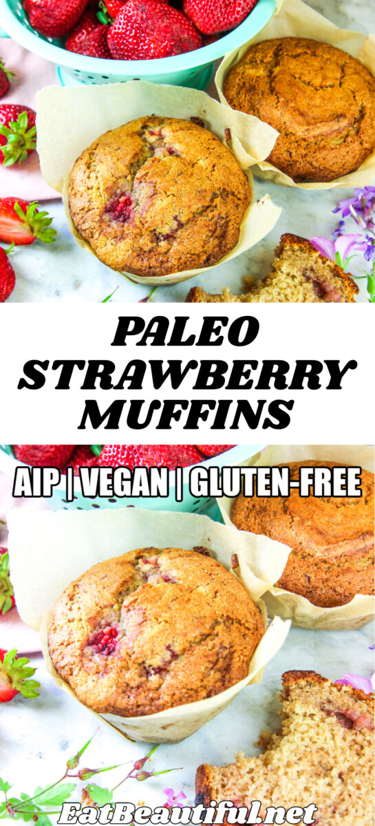2 images of paleo strawberry muffins with banner and recipe title in the center