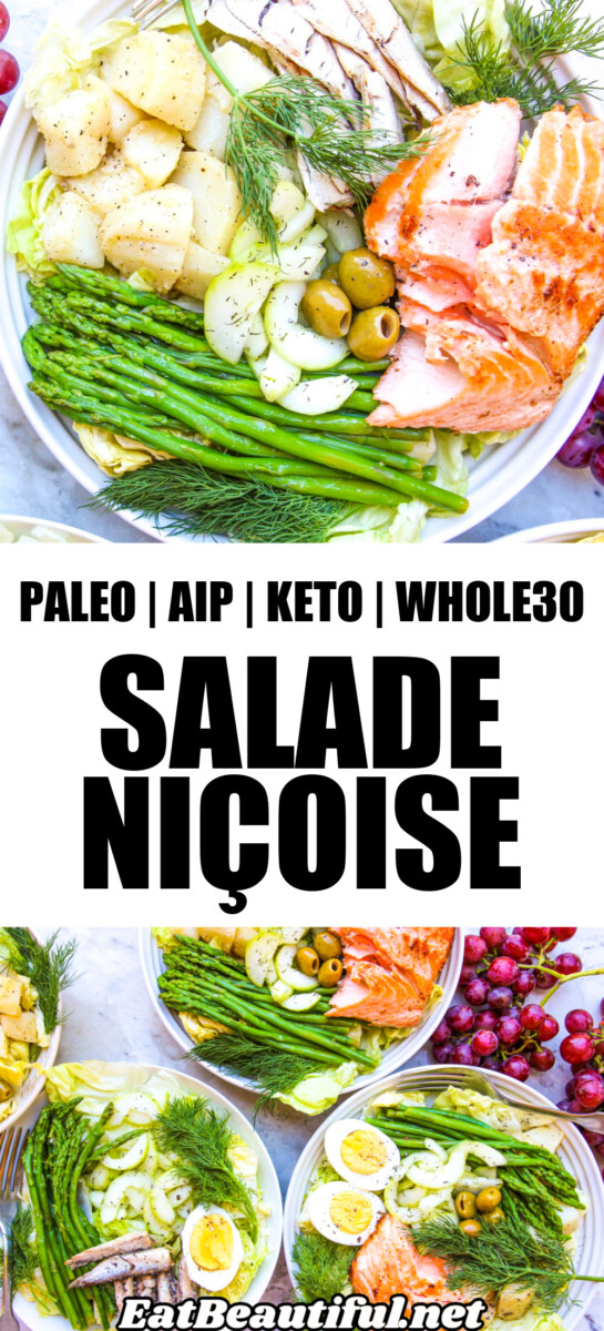 2 photos of salade nicoise with banner and recipe title in the center