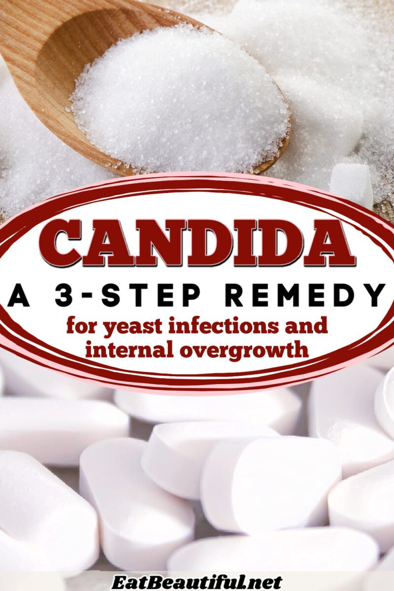 images of sugar and supplements with article title in the center about getting rid of candida with a 3 step remedy