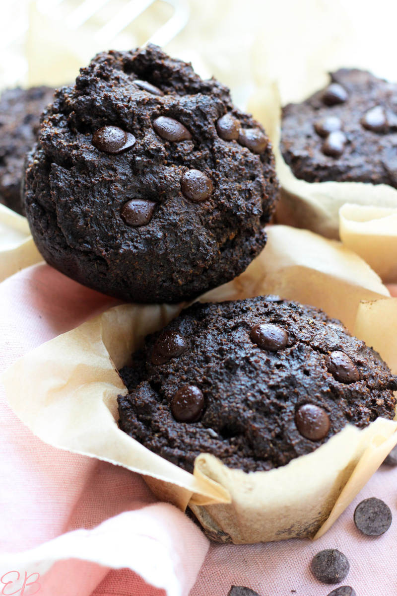 2 stacked carob muffins looking rich and moist and good