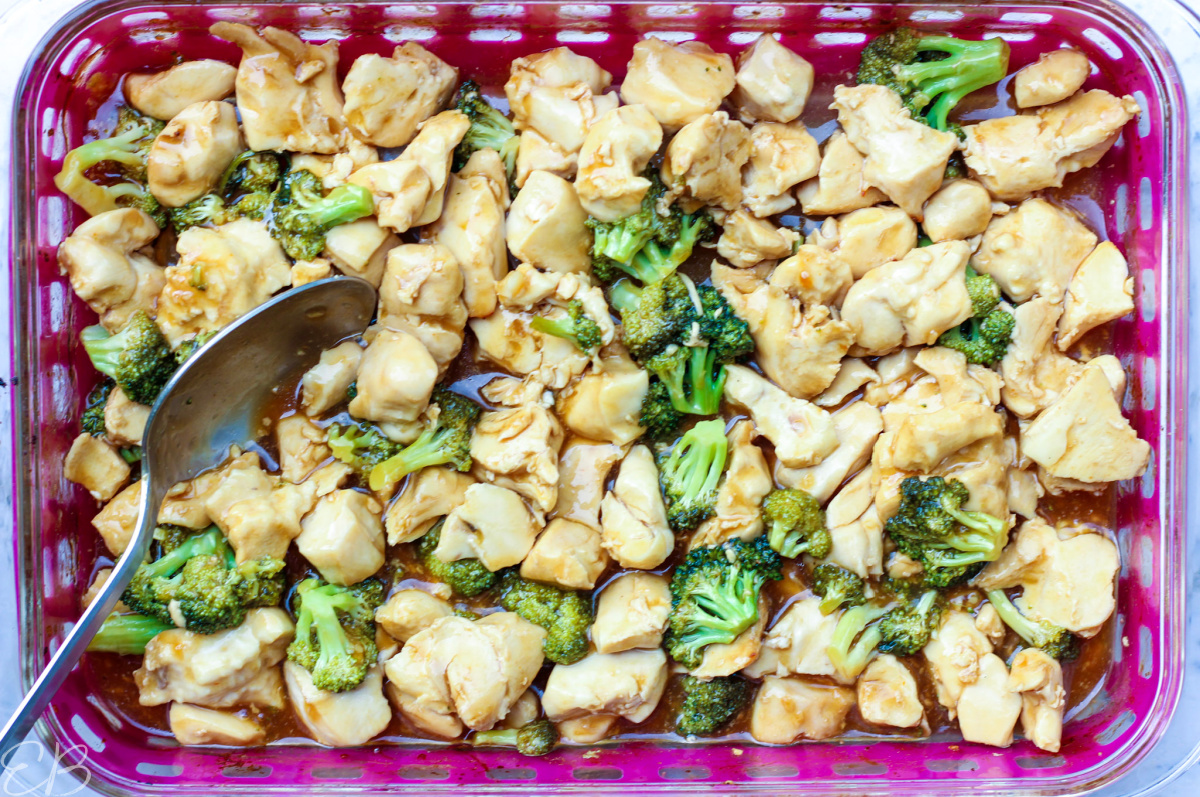 overhead view of whole casserole dish of paleo aip general tso's chicken