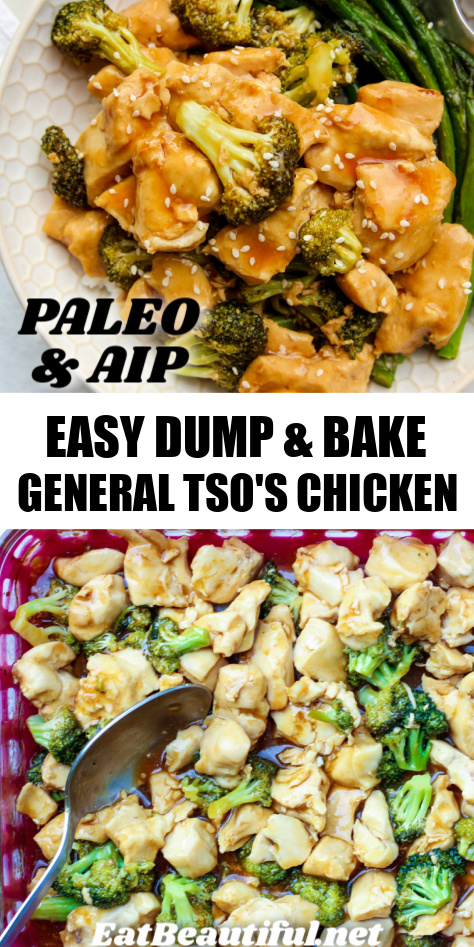 2 images of general tso's chicken with banner and recipe title