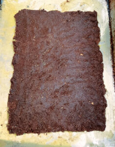ice cream sandwich cookie dough pressed into a rectangular shape before being baked