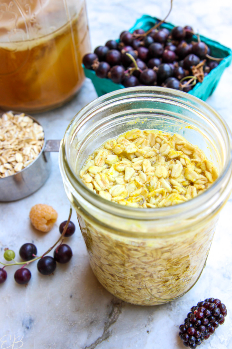 simple jar of kombucha overnight oats without toppings added yet