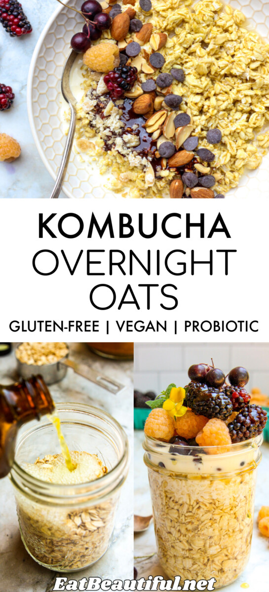 3 IMAGES of kombucha overnight oats with banner and recipe title in the center