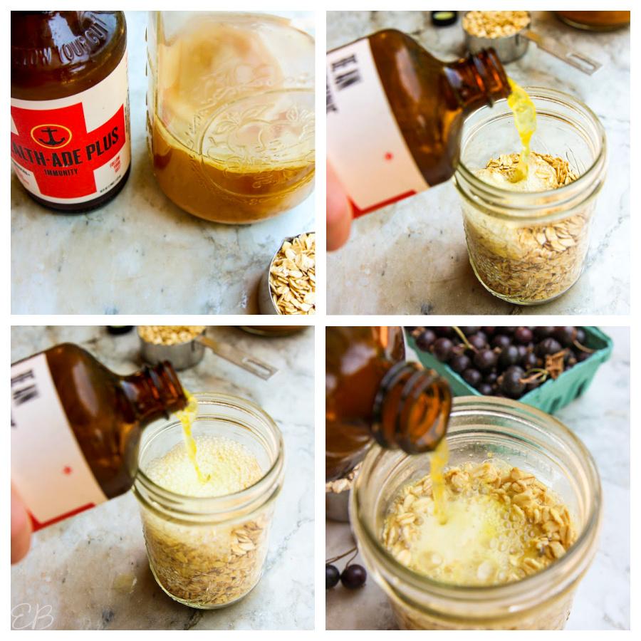 4 photos of making kombucha overnight oats