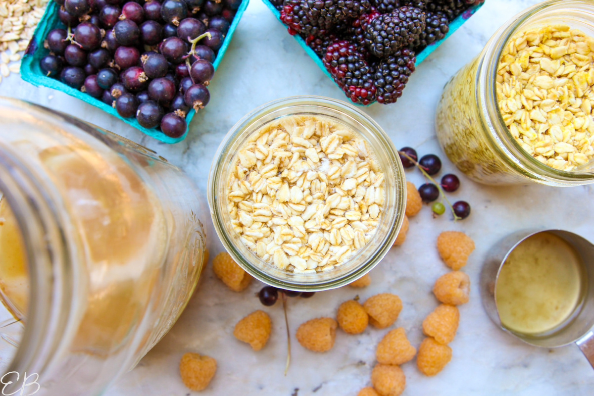 overhead view of overnight oats and its ingredients + toppings