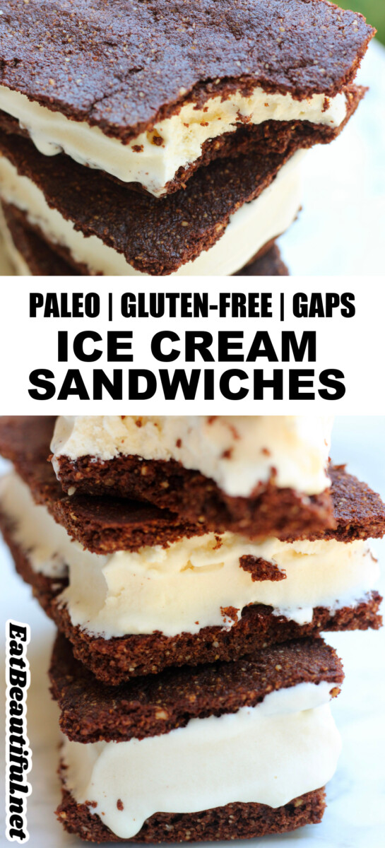 2 images of paleo ice cream sandwiches with recipe title in the middle