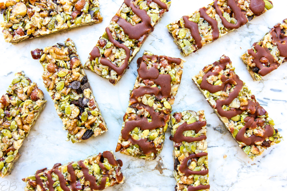 overhead view of paleo kind bars, some with chocolate drizzle