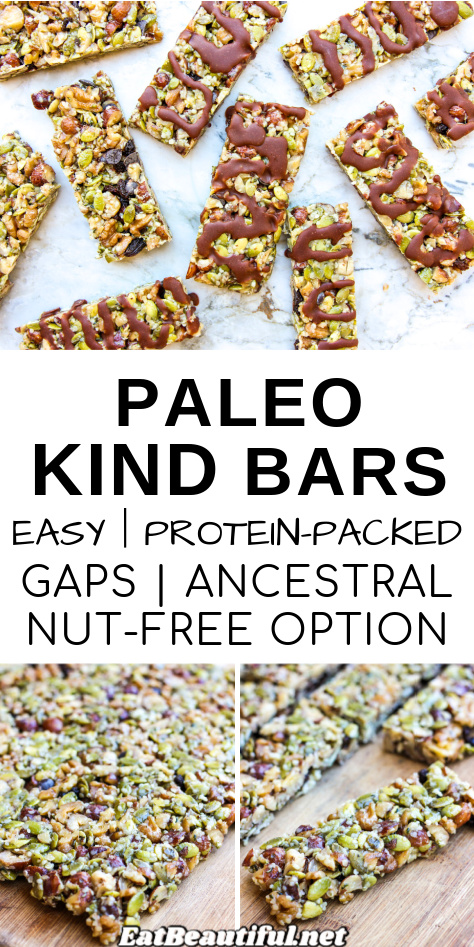 3 images of paleo kind bars with wording in the middle