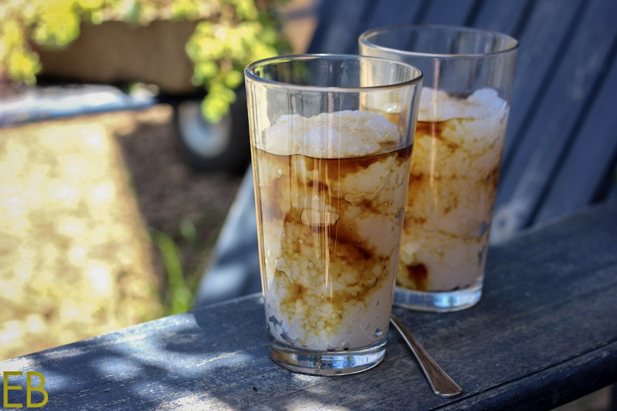 side view of tapioca floats with maple syrup and water