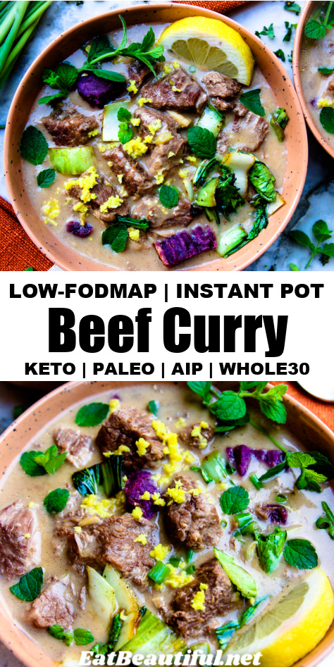 2 close-up images of low-FODMAP beef curry with banner and words in the middle of the title