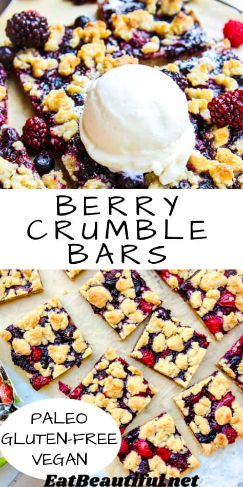 2 images of berry crumble bars, one with ice cream on top