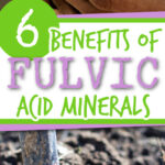 6 benefits of fulvic acid minerals wording on 2 images of soil