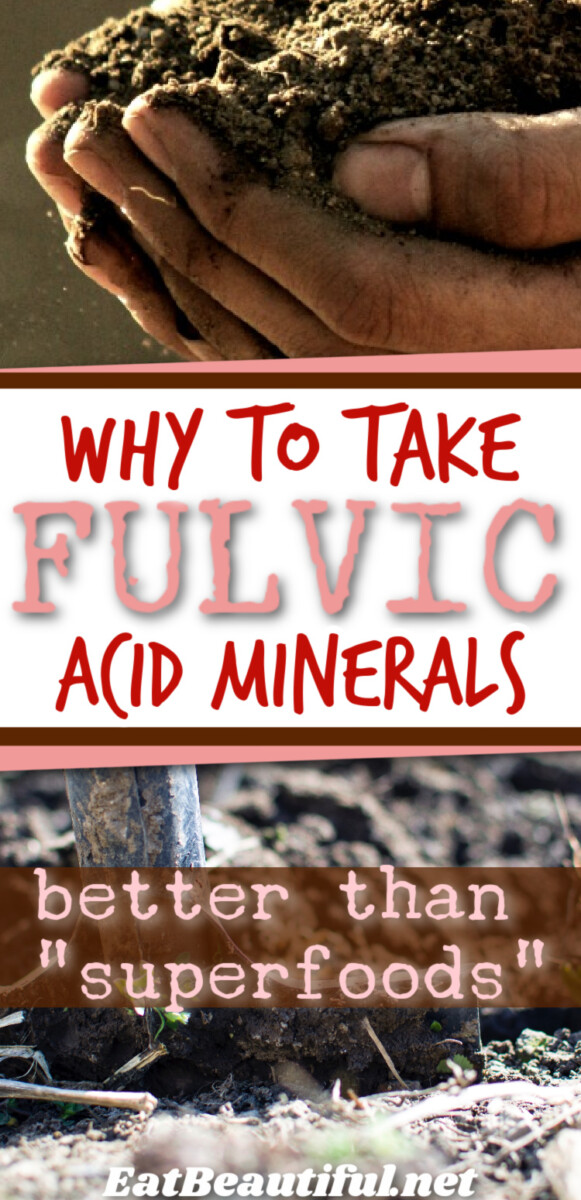 2 images of soil with banner and words: why to take fulvic acid minerals