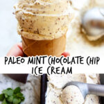 cone and scooping process of paleo mint chocolate chip ice cream