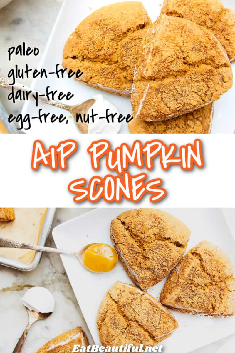 2 images of aip pumpkin scones with banner and recipe title