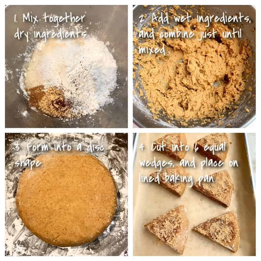 4 process photos for making aip pumpkin scones