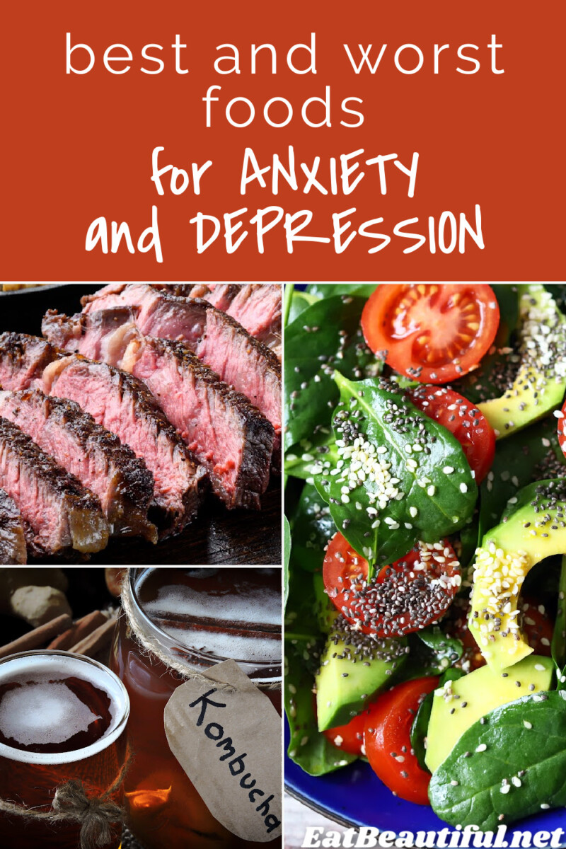 3 images of foods high or low in vitamin a or estrogenic seeds and article title re anxiety and depression