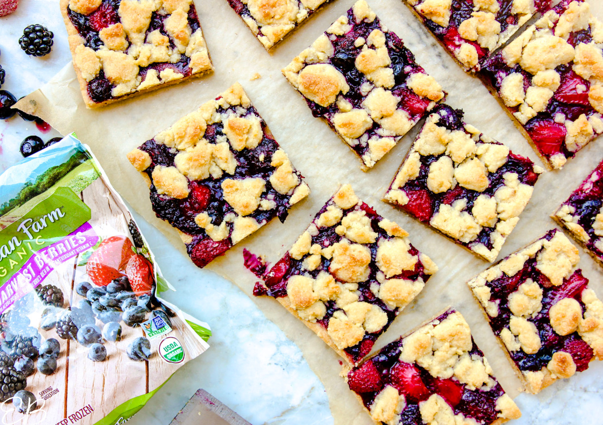 overhead view of berry crumble bars