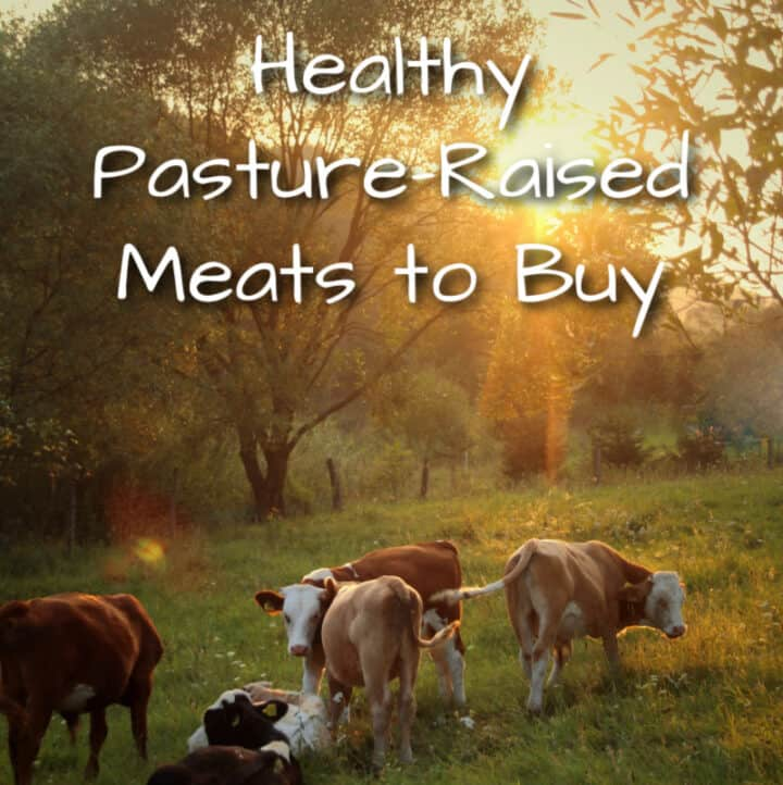 cows in a field with title of article: Healthy Meats to Buy
