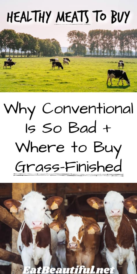 two images of cows with title of article: Healthy Meats to Buy + Where to Buy Grass-Finished