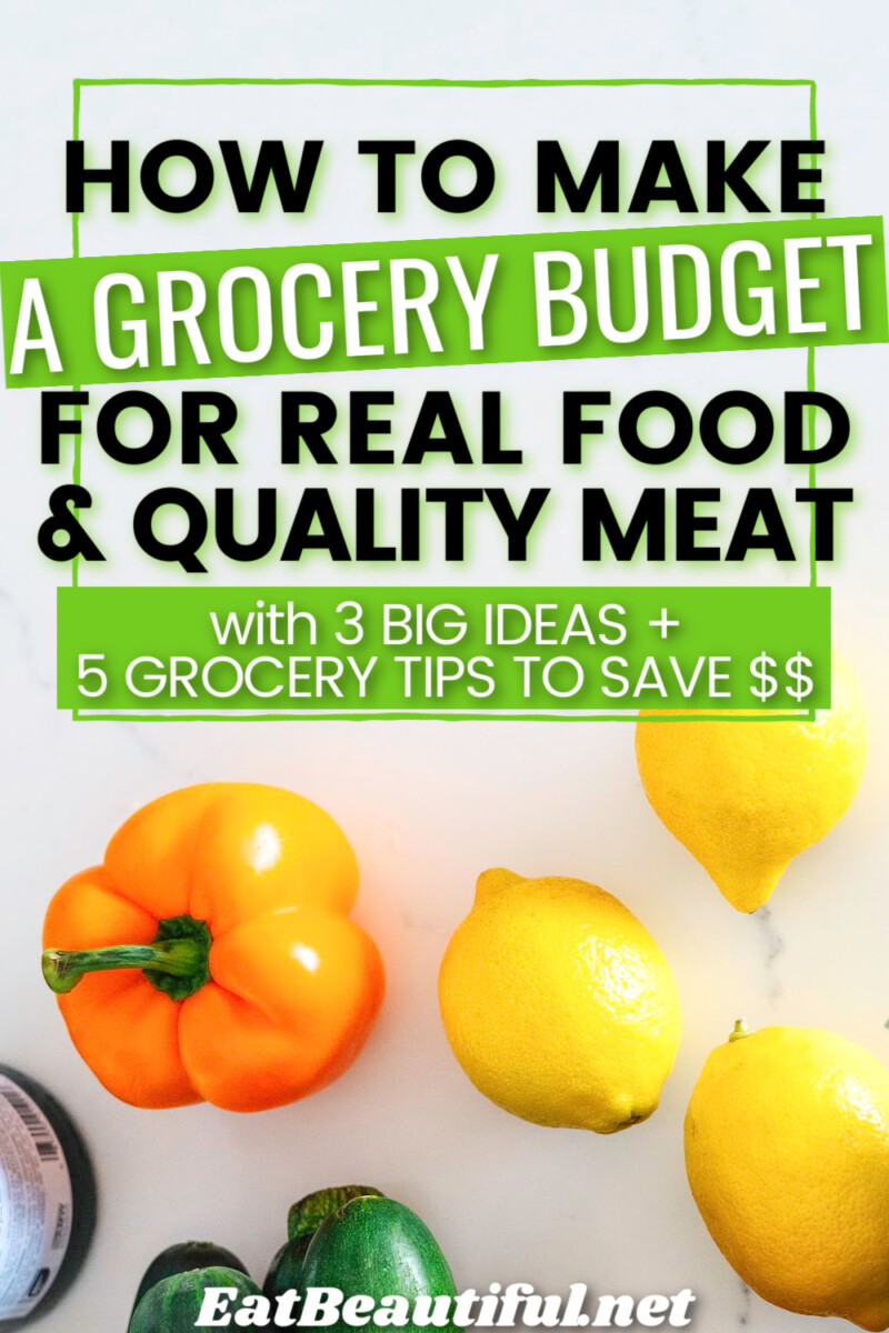 How to Make a Grocery Budget for Real Food & Quality Meat wording over some produce items