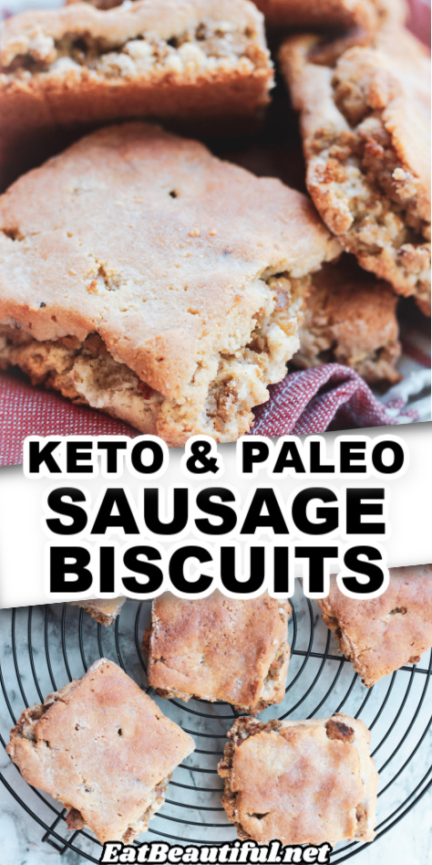 2 images of keto paleo sausage biscuits with recipe title in the center
