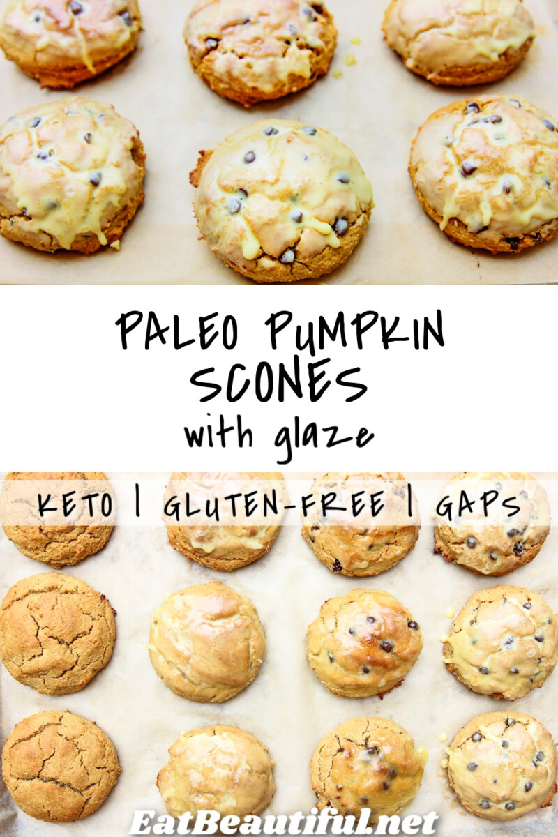 2 photos of Paleo Pumpkin Scones and a banner with the recipe title