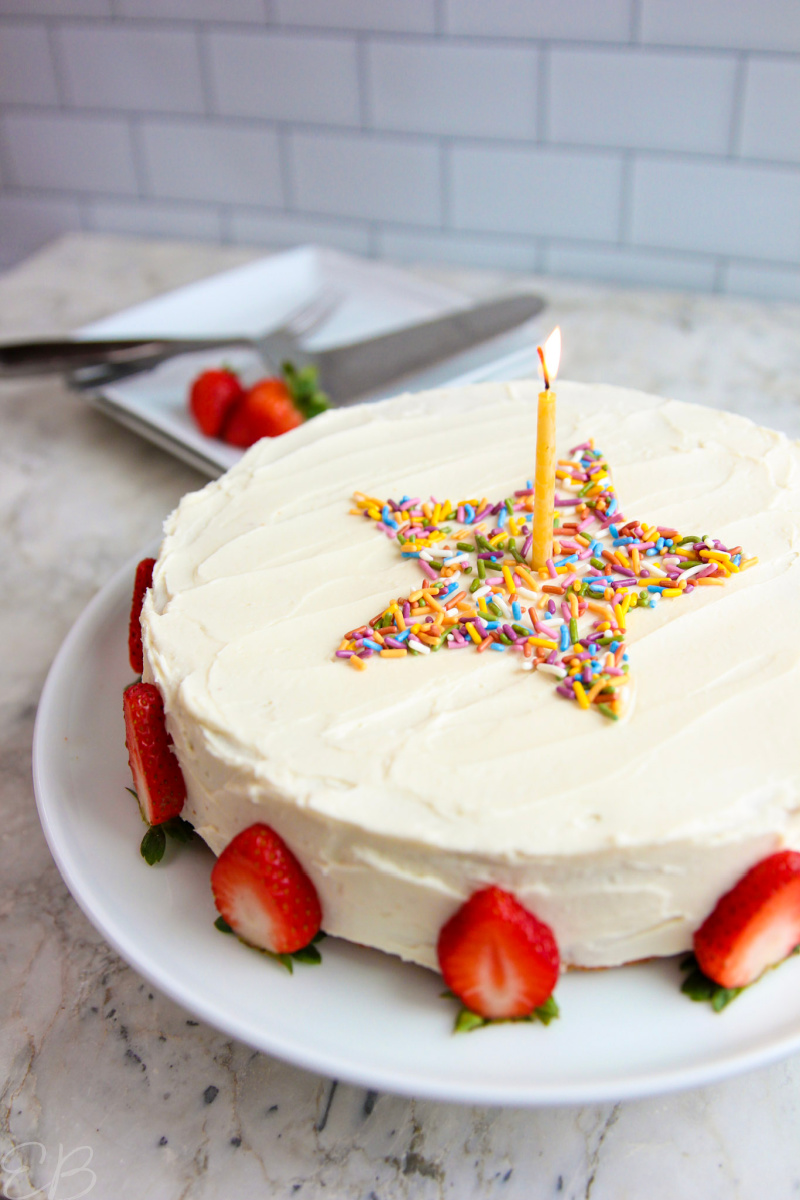 side angle of whole aip birthday cake