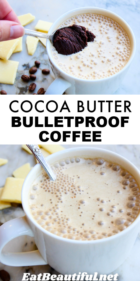 2 photos of cocoa butter bulletproof coffee and banner with recipe title