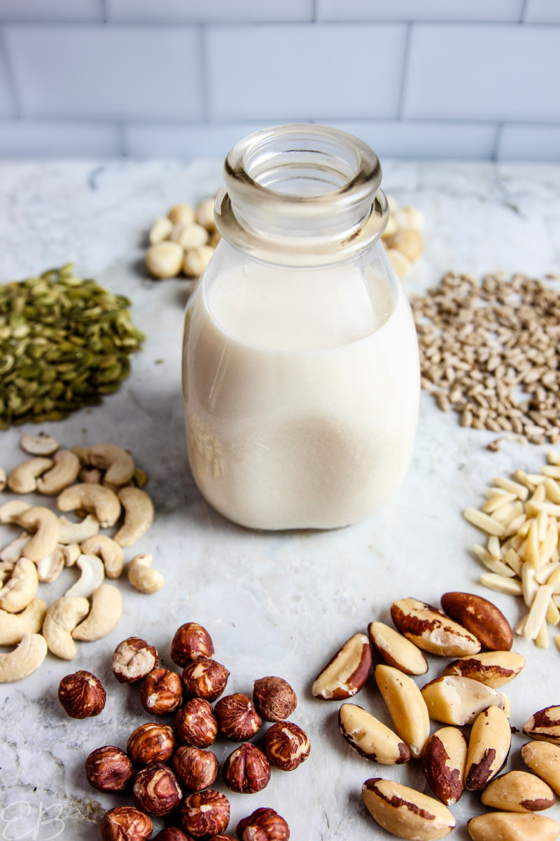one jar of fermented nut milk surrounded by various kinds of nuts and seeds