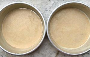 prepared cake pans overhead view